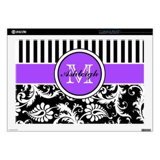 Black, Purple, White Stripe Damask Laptop Skin