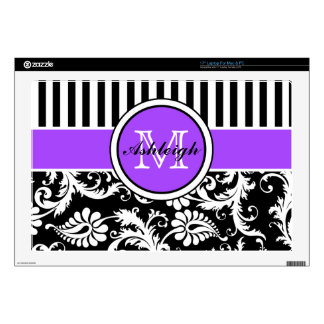 Black, Purple, White Stripe Damask Laptop Skin