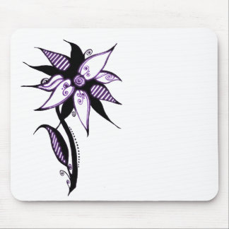 Black Purple & White Swirly Flower by Naomi Mouse Pad