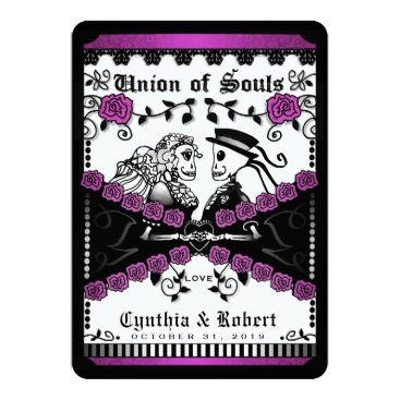 Halloween Themed Black Purple White Union of Souls Wedding Invite