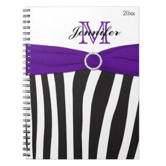 Black Purple White Zebra Striped Notebook