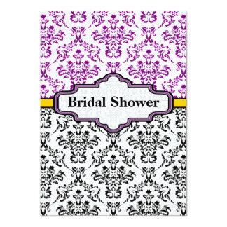 "Black purple yellow damask wedding bridal shower 5"" x 7"" invitation card"
