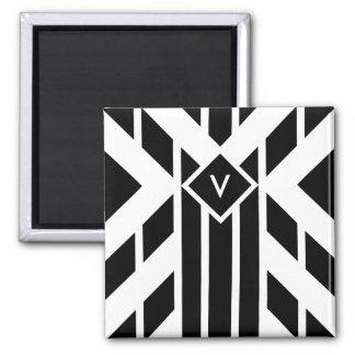 Black Quadrilateral Stripes on White with Monogram 2 Inch Square Magnet