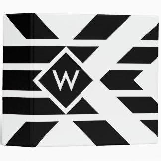 Black Quadrilateral Stripes on White with Monogram 3 Ring Binder