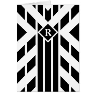 Black Quadrilateral Stripes on White with Monogram Card