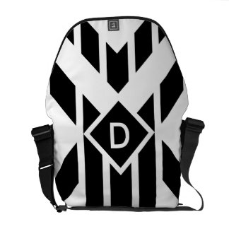 Black Quadrilateral Stripes on White with Monogram Courier Bag