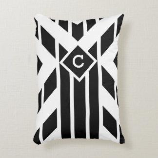 Black Quadrilateral Stripes on White with Monogram Decorative Pillow