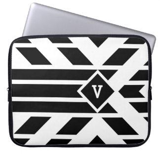 Black Quadrilateral Stripes on White with Monogram Laptop Sleeve