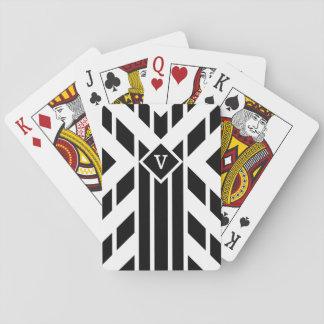 Black Quadrilateral Stripes on White with Monogram Poker Deck