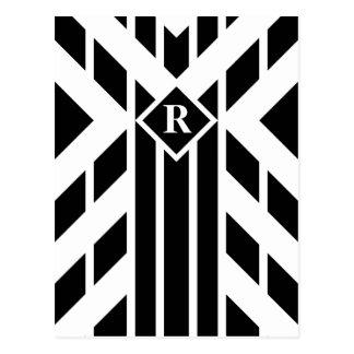 Black Quadrilateral Stripes on White with Monogram Postcard