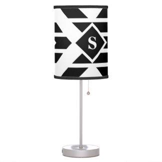 Black Quadrilateral Stripes on White with Monogram Table Lamp