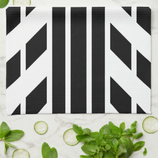 Black Quadrilateral Stripes on White with Monogram Towel