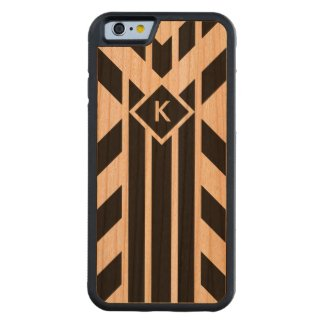 Black Quadrilateral Stripes on White with Monogram Carved® Cherry iPhone 6 Bumper Case