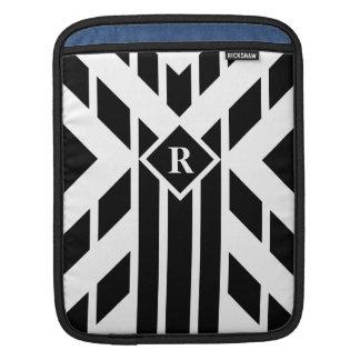 Black Quadrilateral Stripes with Monogram Sleeve iPad Sleeve