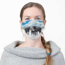Black Quarter Horses In Snow Cloth Face Mask