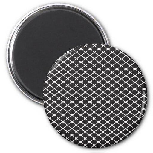 Black Quatrefoil 2 Inch Round Magnet