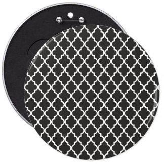 Black Quatrefoil 6 Inch Round Button