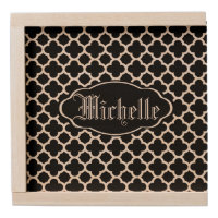 Black Quatrefoil Monogram Wooden Keepsake Box