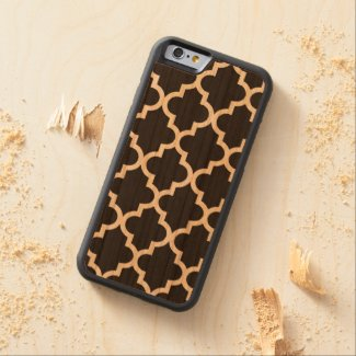 Black Quatrefoil Moroccan Pattern Carved® Cherry iPhone 6 Bumper Case