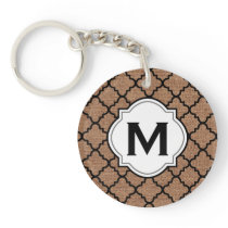 Black Quatrefoil on Rustic Burlap – Monogram Chic Keychain