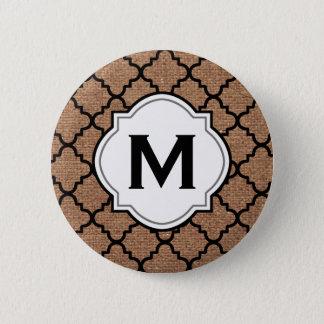 Black Quatrefoil on Rustic Burlap – Monogram Chic Pinback Button