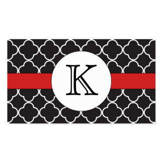 Black Quatrefoil Pattern Double-Sided Standard Business Cards (Pack Of 100)
