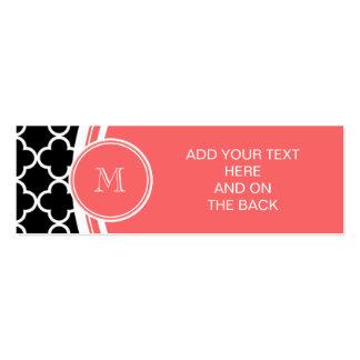 Black Quatrefoil Pattern, Coral Monogram Business Card Templates