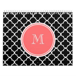 Black Quatrefoil Pattern, Coral Monogram Calendar
