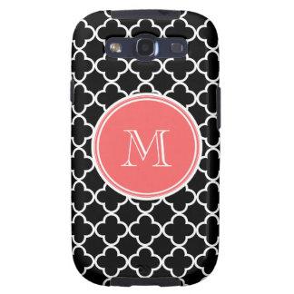 Black Quatrefoil Pattern, Coral Monogram Galaxy S3 Cover