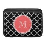 Black Quatrefoil Pattern, Coral Monogram Sleeve For MacBook Air