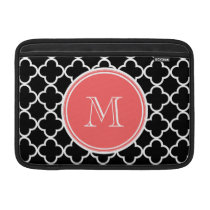 Black Quatrefoil Pattern, Coral Monogram MacBook Air Sleeve