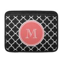 Black Quatrefoil Pattern, Coral Monogram MacBook Sleeve