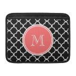 Black Quatrefoil Pattern, Coral Monogram MacBook Sleeves