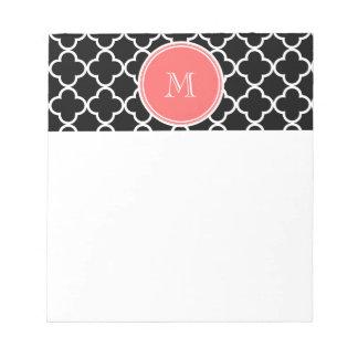 Black Quatrefoil Pattern Coral Monogram Memo Notepads
