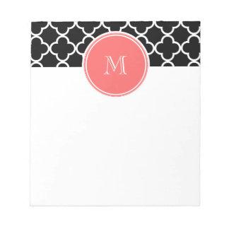 Black Quatrefoil Pattern, Coral Monogram Memo Notepad