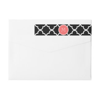 Black Quatrefoil Pattern, Coral Monogram Wraparound Return Address Label