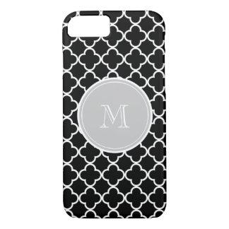 Black Quatrefoil Pattern, Gray Monogram iPhone 8/7 Case