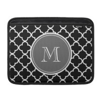Black Quatrefoil Pattern, Gray Monogram MacBook Sleeve
