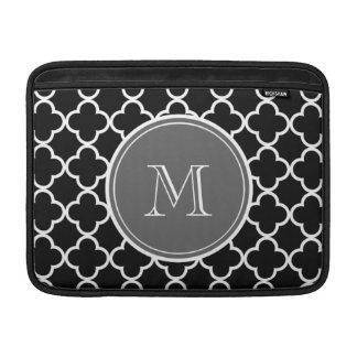 Black Quatrefoil Pattern, Gray Monogram MacBook Sleeve