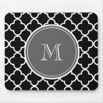 Black Quatrefoil Pattern, Gray Monogram Mouse Pad