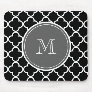 Black Quatrefoil Pattern, Gray Monogram Mouse Pad