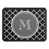 Black Quatrefoil Pattern, Gray Monogram Trailer Hitch Cover