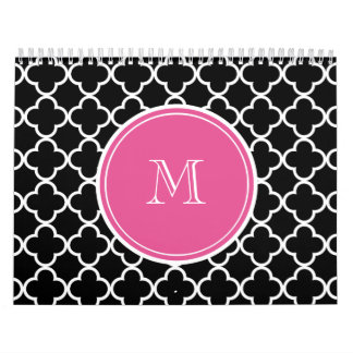 Black Quatrefoil Pattern, Hot Pink Monogram Wall Calendars