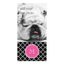 Black Quatrefoil Pattern, Hot Pink Monogram Card