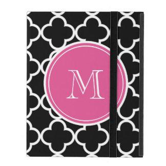 Black Quatrefoil Pattern, Hot Pink Monogram iPad Case