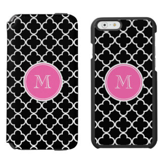 Black Quatrefoil Pattern, Hot Pink Monogram iPhone 6/6s Wallet Case