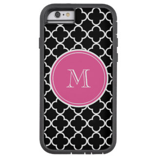 Black Quatrefoil Pattern, Hot Pink Monogram iPhone 6 Case