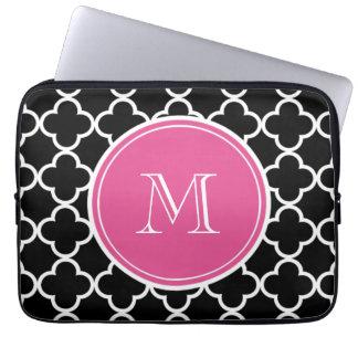 Black Quatrefoil Pattern, Hot Pink Monogram Computer Sleeve