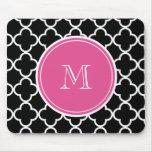 Black Quatrefoil Pattern, Hot Pink Monogram Mouse Pad