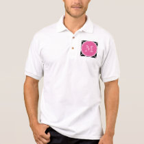 Black Quatrefoil Pattern, Hot Pink Monogram Polo Shirt